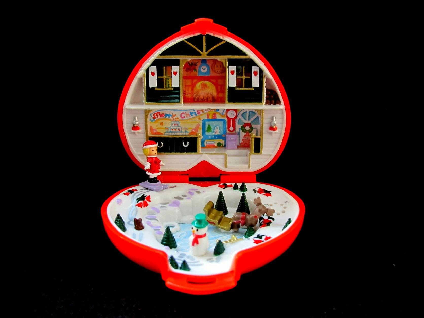 1989  Polly Pocket Christmas Compact play set musical variation (2)
